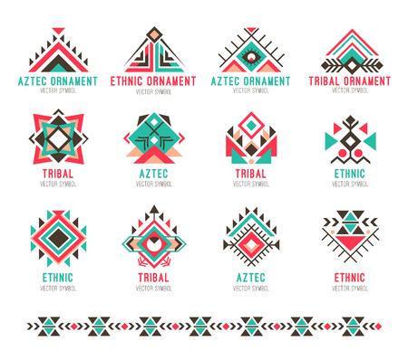 Inheemse stammen patroon set illustratie. Stock Illustratie
