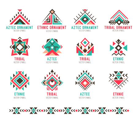 Native tribal pattern set illustration. Çizim