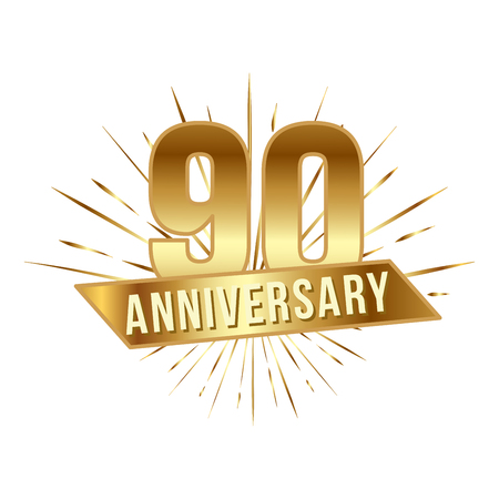 Anniversary golden ninety years number Illustration