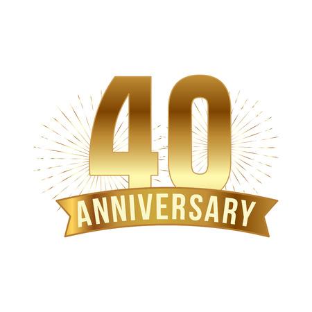 Verjaardag gouden veertig jaar nummer Stock Illustratie
