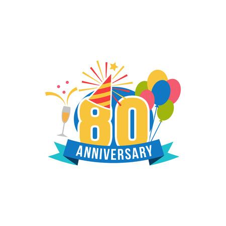 80th: Anniversary eighty years number. Vector illustration. Illustration