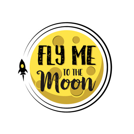 Rocket flies around moon text fly me around flat isolated background