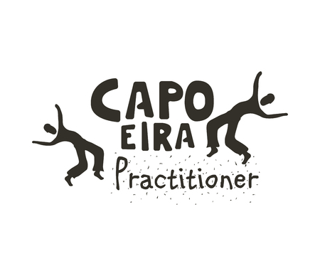 Capoeira practitioner icon . Badge for sport combining rhythmic dance, martial-arts, and acrobatic movements. Vector flat style black and white illustration
