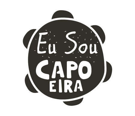 Capoeira music logo. Traditional rhythm, style of play, and drum tune energy of a brazil game with instruments, clapping, and singing. Vector flat style black and white illustration Vettoriali