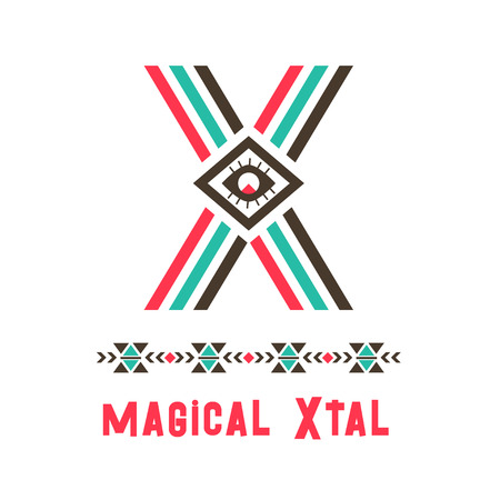 magical Xtal icon. A good place of ideal perfection, imagined community or society, name of an imaginary country, X letter in ethnic original design. Vector illustration