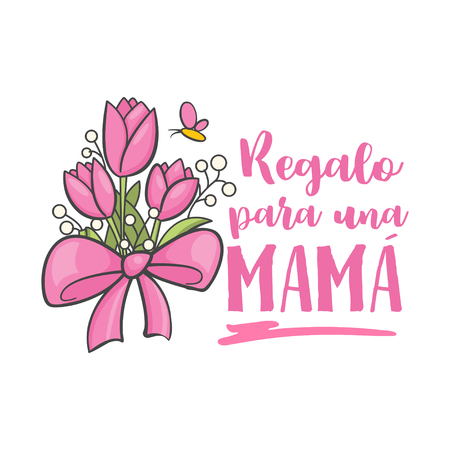 Spanish mother day greeting with flowers and butterfly Vector illustration.