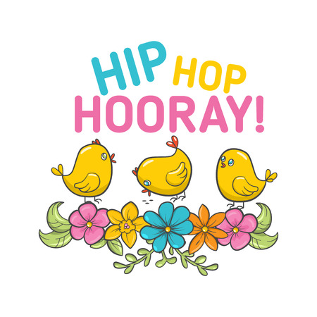 Vector Happy Easter Label with birds and flowers
