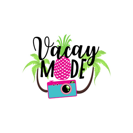 vacay mode. Vector summer badge, cute sticker with camera and tropical plants.