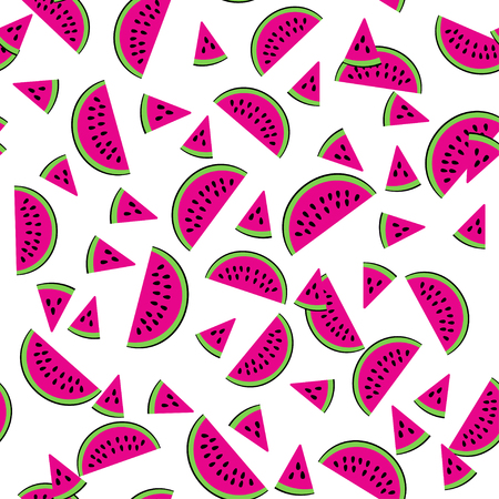 Watermelon seamless pattern. Vector background with colorful watermelon slice. Melon fruit summer illustration