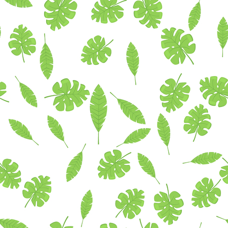Exotic palm leaves, summer rainforest. Seamless tropic green pattern. Vector background.