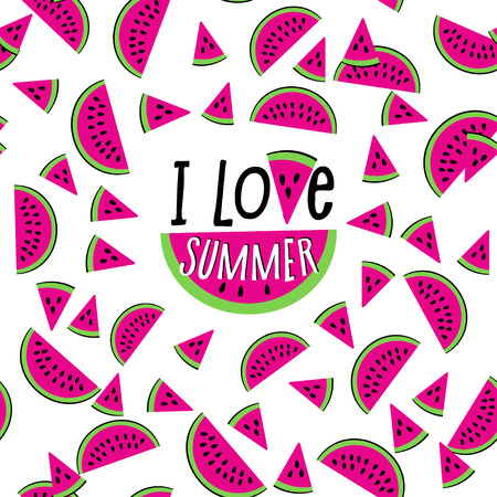 I love summer watermelon seamless pattern. Fresh fruit decoration, red pulp, watery juice cute design with lettering. Vector flat style cartoon illustration isolated on white background