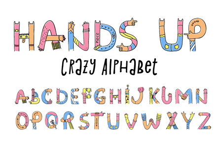 Hands up crazy alphabet. Set of creative letters from A to Z, done with arm gesture, palm, fingers, and thumb in a funny way. Vector flat style cartoon illustration isolated on white background