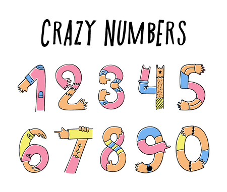 Hands up crazy numbers. Set of creative mathematical symbols, done with arm gesture, palm, fingers, and thumb in a cute way. Vector hand draw style cartoon illustration isolated on white background
