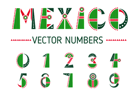 Mexico number set. National flag color mathematical symbols, designed in traditional festive way. Vector flat style cartoon illustration isolated on white background
