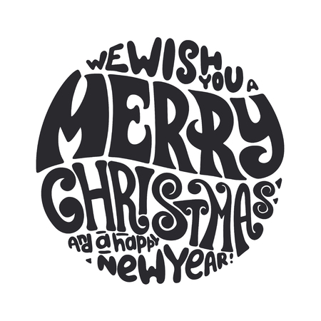 We wish you a Merry Christmas and Happy New Year typography 免版税图像