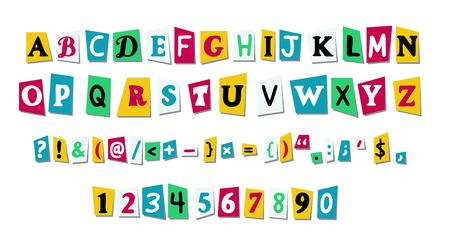 Les lettres vectorielles coupent le papier du journal ou des magazines