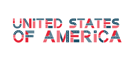 Vector text United States of America. USA banner in flag colors with stars and stripes. Çizim