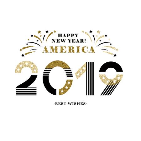 2019 Happy new year America festive card decoration Çizim