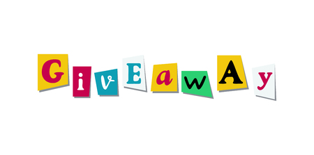 Giveaway Banner Card with cutout colours letters from newspaper or magazine. Colorful design for social media competition Çizim