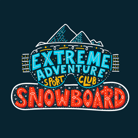 Snowboard Club poster. Vector illustration extreme adventure. Concept for sport shirt , print, stamp or logo equipment.
