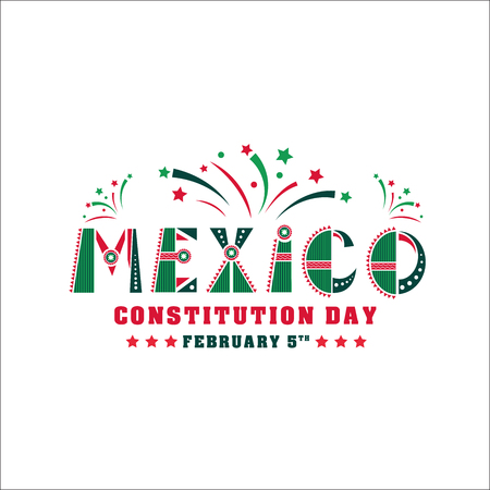 Mexico Constitution day illustration. Vector 5 february Celebration Card. Design for holiday banner, news, print. National font with Mexican flag, ornaments, fireworks and stars