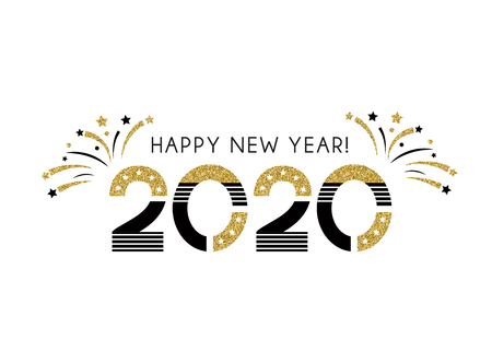 Vector 2020 Happy New Year sign with golden glitter texture. Illustration phrases with fireworks and Christmas stars on a white background. Greeting card design.