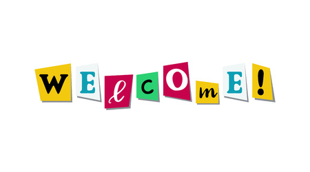 Welcome greeting phrase in papercut colorful letters. Bright text for friendly message. Vector illustration on white background Çizim