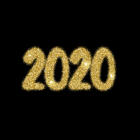 2020 new year numerals bright firework explosion on black. Holiday burst and night sky glow effect for evening celebrations. Vector illustration Иллюстрация