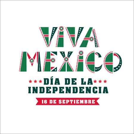 Mexico independence day card, national holiday banner. September 16 traditional decoration. Vector illustration on white background Иллюстрация
