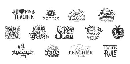 Szczęśliwy dzień nauczycieli napis i typografia cytat. Najlepsze na świecie odznaki dla nauczycieli na prezent, zaprojektuj kartki świąteczne i nadruk.