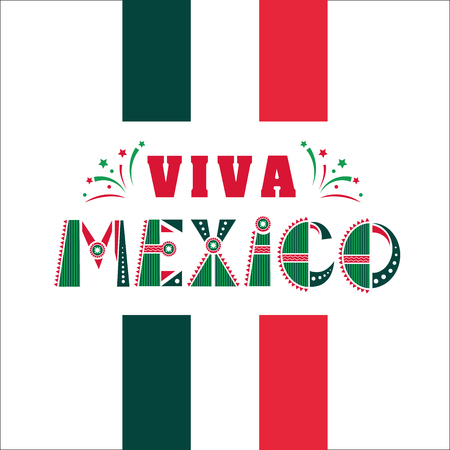 Viva Mexico, national mexican phrase holiday, typography vector illustration in flag colors, ornaments with fireworks. Design for holiday banner, news, print