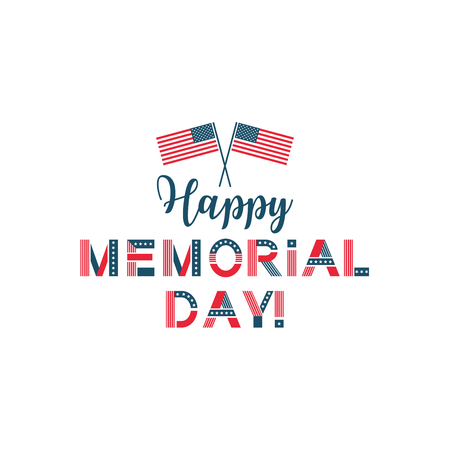 Memorial day, remember and honor usa patriotic card. American national holiday, military veterans celebration. Vector illustration on white background Иллюстрация