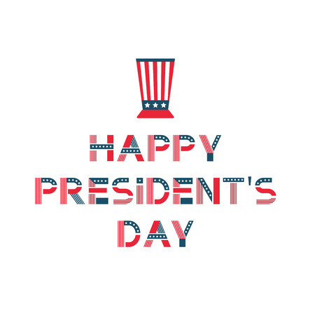 Happy presidents day label. United States federal holiday vintage poster, festive country political third Monday in February. Çizim