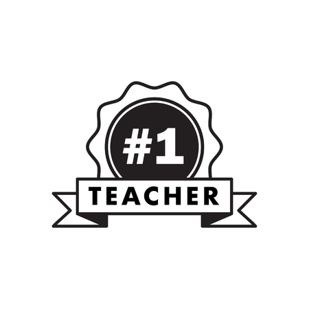 Teacher number one. Happy teachers day hand lettering design poster ranking professional highest degree, most excellent career result.