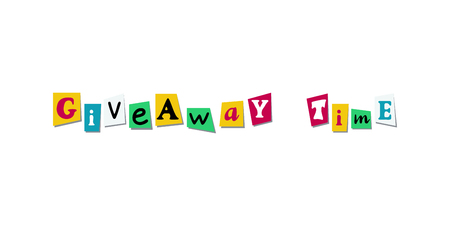 Giveaway time Banner Card with cutout colours letters from newspaper or magazine. Colorful design for social media competition