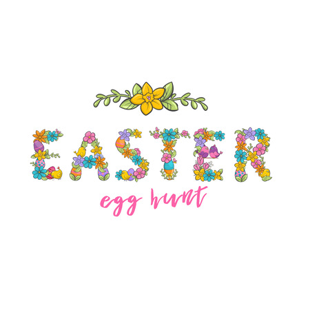 Easter egg hunt, Christian church festival card with flower letters font. Spring holiday on Resurrection Sunday. Vector illustration on white background 일러스트
