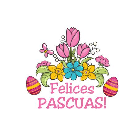 Feliz pascua, spanish easter greeting flower card. Christian church festival ornament. Vector illustration on white background