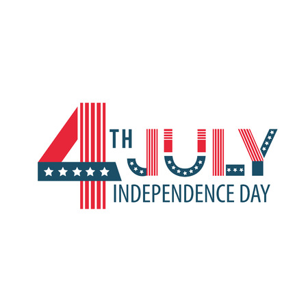 Independence Day of the United States poster, Fourth of July federal holiday, typical festivity card . America flat style illustration Çizim