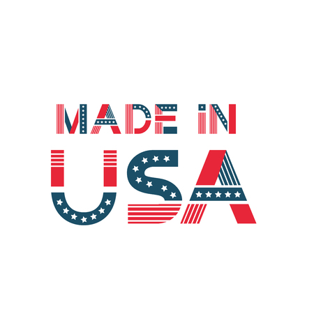 label made in USA. American badge with stars, stripes in flag colours