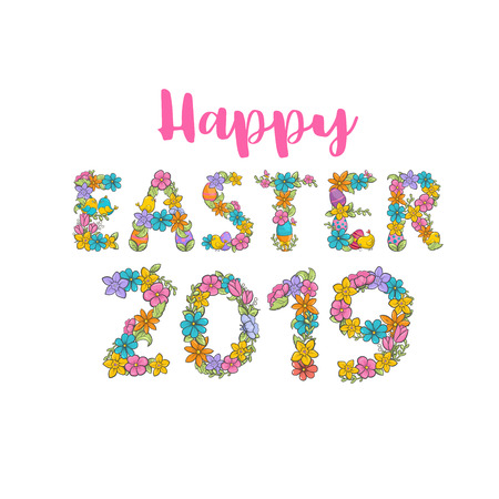 Vector Happy Easter Label. Cute Holiday spring font with chickens, flowers, leaves Vector Template for Greetings on white background 일러스트