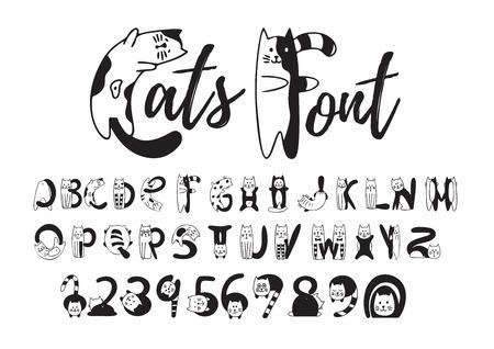 Katten lettertype, schattig zwart-wit alfabet, cijfers. Creatieve set karakters, kittens afgebeeld in verschillende poses. Vector vlakke stijl cartoon illustratie geïsoleerd op een witte achtergrond
