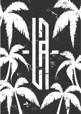 Los Angeles vector lettering for card, tee print design. Typography quote for t-shirts, vector graphic for tee printing american slogan. Black and white palm, summer, beach illustration Çizim