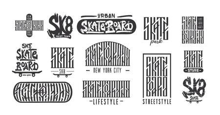 Skateboarding typography t-shirt design. Urban freestyle skating. Çizim