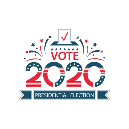 2020 United States of America Presidential Election banner. USA flag banner Vote