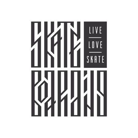 Live, love, skate ethnic stylized typography. Skateboarding authentic slavic vector lettering.