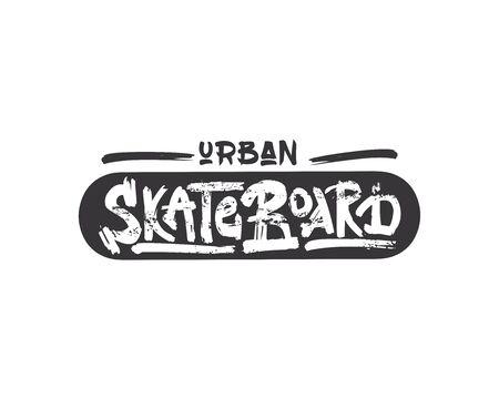 urban skateboard old school vector lettering. Dry paint brush stroke skateboarder slogan. Black ink smears texture phrase. Иллюстрация