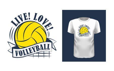 Live, love, volleyball t shirt print design Stok Fotoğraf - 127923736