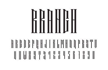 Ethnic vector serif font. Authentic slavic stylized alphabet bold symbols. Иллюстрация