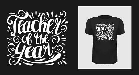 Teacher of the year t shirt print design