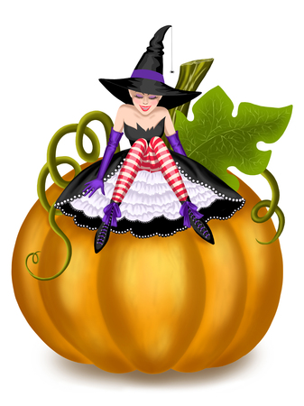 little witch on a pumpkin Stock Photo